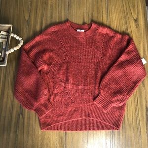 BP rust colored chunky knit crew neck sweater